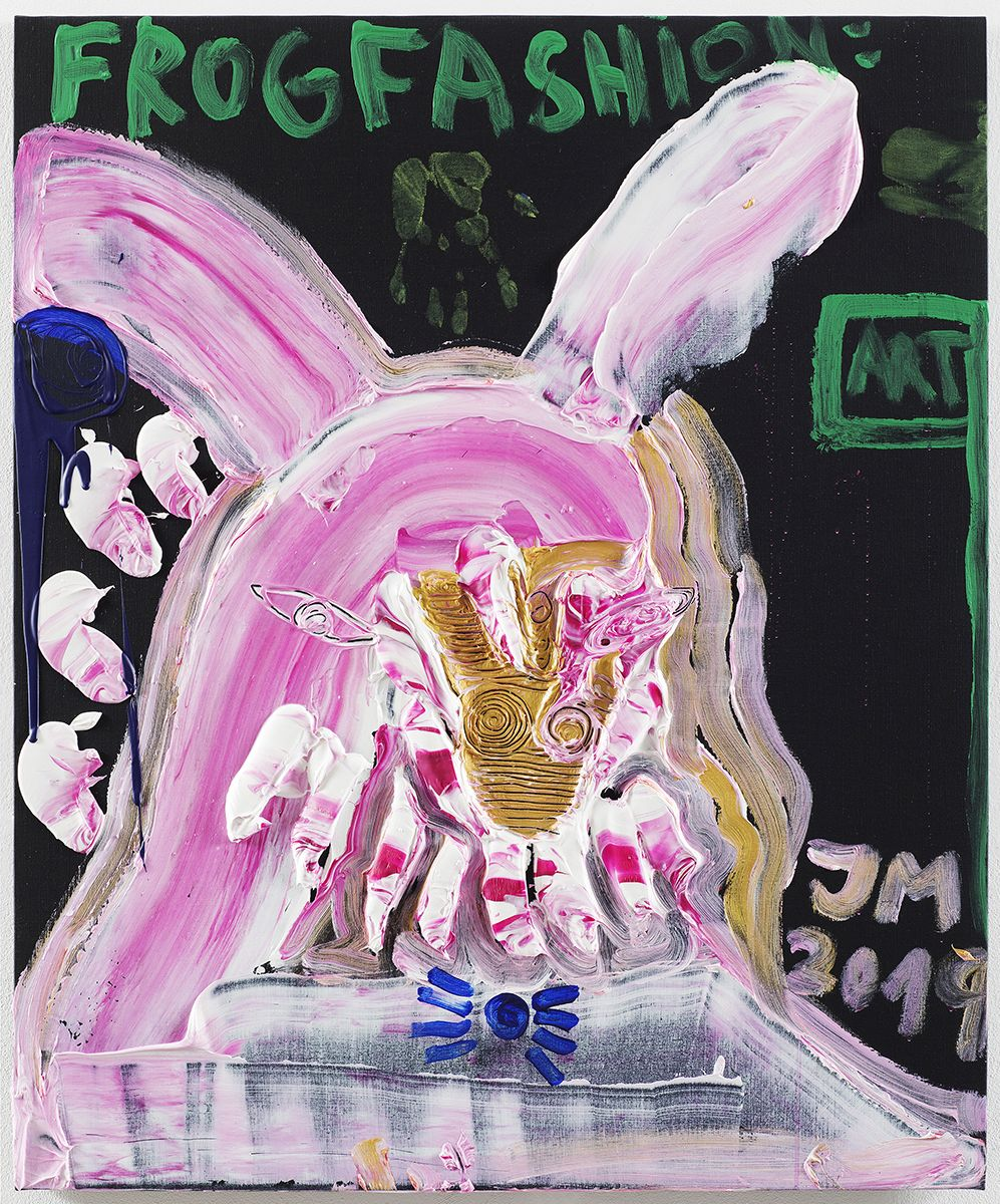 """JONATHAN MEESE - Repro image shows a painting art work by German artist JONATHAN MEESE on Oct. 3, 2019, in Berlin, Germany.   PHOTO COPYRIGHT AND CREDIT LINE IS TO USE COMPLETLY ON THE SAME PAGE OF IMAGE PUBLISHING:   2019 © PHOTOGRAPHY JAN BAUER . NET / COURTESY JONATHAN MEESE . COM  Jonathan Meese ~ MEE/M 4334/00 """"LOS, TANZ DEN 1. EDGAR WALLACE, WIE APOLLO !"""", 2019 Acryl auf Leinwand / acrylic on canvas 120,5 x 100,3 x 3,3 cm / 47,4 x 39,5 x 1,3 in  03.10.2019 Berlin, Deutschland  www.janbauer.net mail@janbauer.net mobile phone +49.171.4981690"""