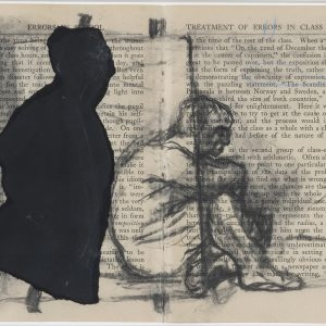 William KENTRIDGE, Untitled, c. 2002, Charcoal and collage on book pages, 18,5 x 25 cm