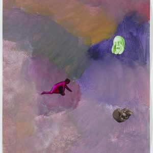 "Tony OURSLER, ""Call Drop"", 2011, Acrylic and photo collage on paper, 43 x 35,5 cm"
