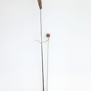 """Golf"", 2020, Copper plated Clementine, Steel, Brass, Bamboo, Prickly pear, 156 x 40 x 6 cm"