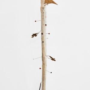 """""""Grand Piaf"""", 2020, Oak, Seeds, Wood, Sealing wax, Magnets, Brass, 150 x 30 x 40 cm"""