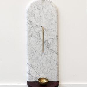 """A sec"", 2020, Oak, Brass, Marble, 60 x 20 x 12 cm"