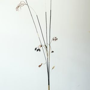 """Archètypes 2"", 2020, Bamboo, Copper, Brass, Seeds, Steel, Plants, Copper plated leaves, 270 x 120 x 90 cm"
