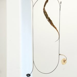 """Enseigne"", 2020, Flowers, Agave tree, Steel, Magnet, Brass, 60 x 30 x 6 cm"