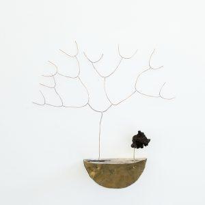 """Généalogies"", 2020, Brass, Copper, Silver, Mushroom, 50 x 15 x 45 cm"