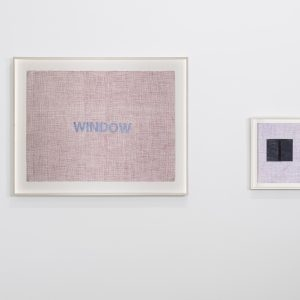 """Window"", 2019, Watercolour and collage on paper, left panel: 56 x 76 cm (framed: 71 x 90 cm), right panel: 31 x 23 cm (framed: 37 x 29,5 cm)"