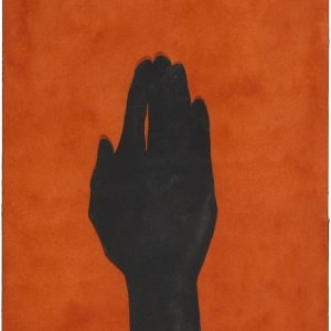 Untitled (Black hand), 2015, Watercolour collage on paper, 31 x 23 cm (framed: 46 x 38,5 cm)