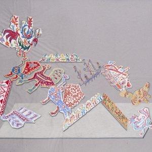 """""""Κα Κέντημα / Mrs Embroidery"""", 2020, Collage, colour pencil on paper, 88 x 110 cm"""