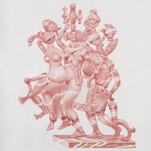 """""""Σταμνούλες (κόκκινο μάρμαρο) / Pitches (red marble)"""", 2020, Colour pencil on paper, 100 x 88 cm"""