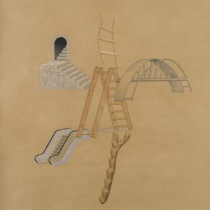 """Kα Σκαλέ / Mrs. Ladders"", 2019, Colour pencil on paper, 100 x 88 cm"