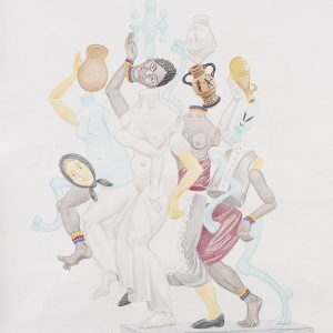 """Σταμνούλες (λευκό) / Pitches (white)"" , 2020, Colour pencil on paper, 100 x 88 cm"