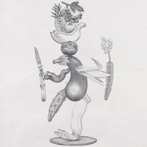 """""""Κολοκυθάκης (ασπρόμαυρο)/ Zuchinelo (b/w)"""", 2019, Colour pencil on paper, 100 x 88 cm"""