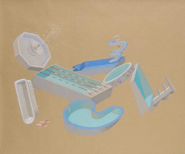 """""""Πισινέλο / Pischinelo"""", 2020, Colour pencil on paper, 88 x 108 cm"""