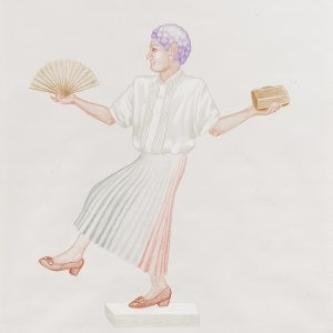 """Kα Διονυσία / Mrs. Dionysia"", 2020, Colour pencil on paper, 108 x 88 cm"
