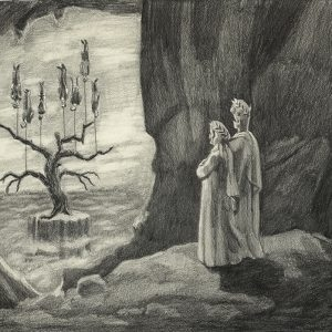 """Dionisis KAVALLIERATOS """"The Tree of Innocence from Inside the Cave of Guilt #4"""", 2008, Pencil on paper, 21 x 31 cm"""