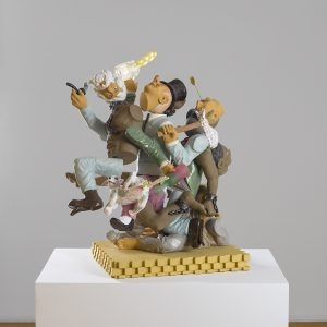 """Vagabonds of the Western World"" , 2019, Ceramic, epoxy resin, plywood, 68 x 60 x 45 cm"