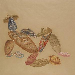 """""""Kα Μασκά / Mrs. Maská"""", 2020, Colour pencil on paper, 88 x 108 cm"""