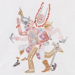 """""""Make America Again (white paper)"""", 2020, Colour pencil on paper, 100 x 88 cm"""