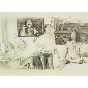 "Delia BROWN, ""Zelina and Raina in the bedroom"", 2003, Graphite on paper, 27,5 x 45,5 cm"