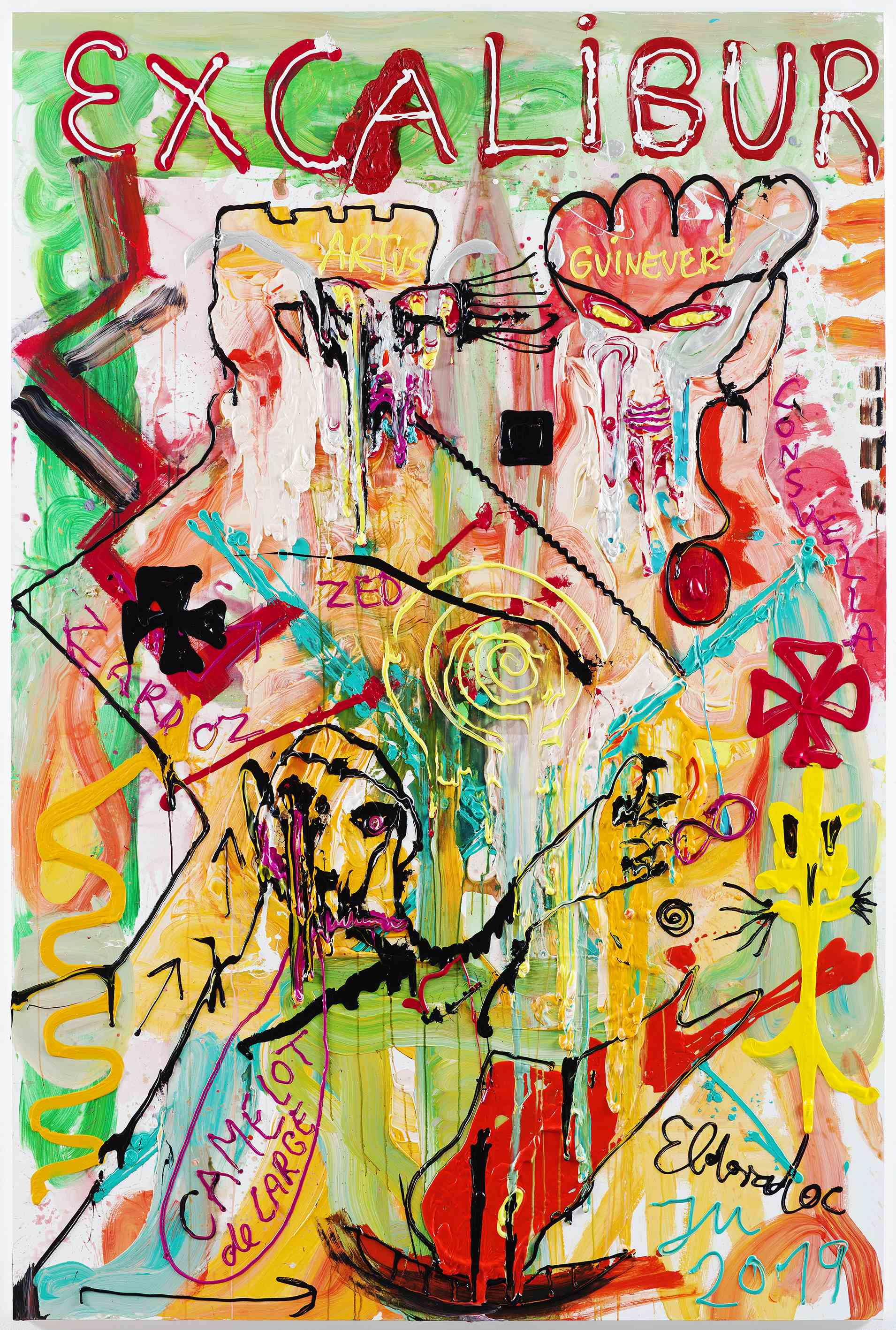 "Jonathan MEESE, ""DR. FRESH FOR K.U.N.S.T.!"", 2019, Acrylic on canvas, 270,4 x 180,3 x 4 cm"