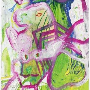 """KÖNIG LUDWIG'S SCHWANENKUNST ""BAYERN""!"", 2019, Oil and acrylic on canvas, 210,5 x 140,3 x 3,3 cm"
