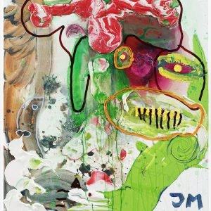 """JAWOLL: DER GEILE FROSCHKÖNIG DANKT IM NAMEN DER KUNST AB!"", 2019, Oil, acrylic and acrylic modelling paste on canvas, 120,5 x 100,3 x 3,3 cm"