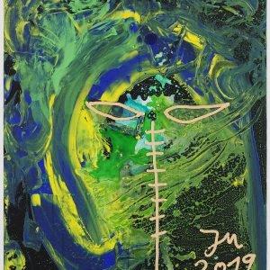 """""""HALLO AGAIN: KNACKO DOBLÉ (ABRIDGED)"""" 2019, Oil and acrylic on canvas, 120,5 x 100,3 x 3,3 cm"""