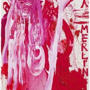 """ERZMERLIN'S L.O.V.E.!"", 2019, Acrylic on coarse untreated cotton cloth, 210,5 x 140,3 x 3,3 cm"