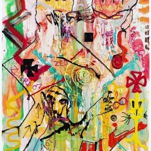 """DR. FRESH FOR K.U.N.S.T.!"" 2019, Acrylic on canvas, 270,4 x 180,3 x 4 cm"
