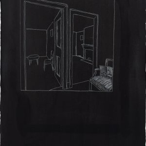 Juan MUÑOZ, Untitled (two rooms), 1993, White charcoal on black paper, 76 x 57 cm
