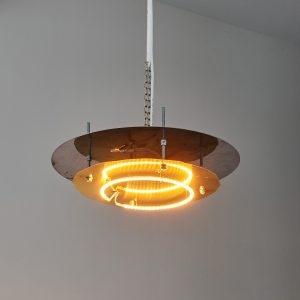 """""""Lampe"""", 2020, Brass, Steel, Heat bulb, 25 x 80 x 80 cm"""