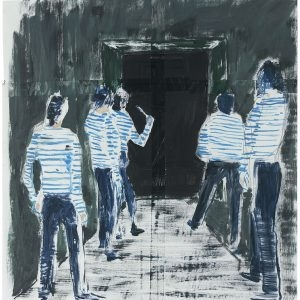 "Daniel RICHTER, ""Gang of Five"", 2003, Pencil, Oil, Tesa tape on paper, 41 x 39,8 cm"