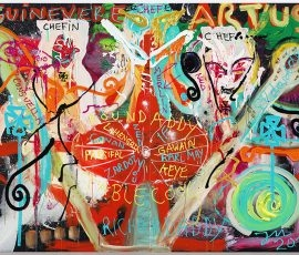 "JONATHAN MEESE - Repro image shows a painting art work by German artist JONATHAN MEESE on Nov.11, 2019, in Berlin, Germany.   PHOTO COPYRIGHT AND CREDIT LINE IS TO USE COMPLETLY ON THE SAME PAGE OF IMAGE PUBLISHING:   2019 © PHOTOGRAPHY JAN BAUER . NET / COURTESY JONATHAN MEESE . COM  Jonathan Meese ~ MEE/M 4393/00 ""BABY ""CAMELOT"" (BEHIND THE WHEEL)"", 2019 2~teilig, Acryl auf Leinwand / 2 panels, acrylic on canvas 210,5 x 280,6 x 3,3 cm / 82,9 x 110,5 x 1,3 in  11.11.2019 Berlin, Deutschland  www.janbauer.net mail@janbauer.net mobile phone +49.171.4981690"