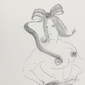 "Sue WILLIAMS ,""Bow"", 1993, Charcoal on paper, 42 x 34,5 cm"