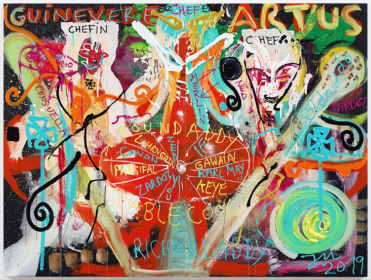 """JONATHAN MEESE - Repro image shows a painting art work by German artist JONATHAN MEESE on Nov.11, 2019, in Berlin, Germany.   PHOTO COPYRIGHT AND CREDIT LINE IS TO USE COMPLETLY ON THE SAME PAGE OF IMAGE PUBLISHING:   2019 © PHOTOGRAPHY JAN BAUER . NET / COURTESY JONATHAN MEESE . COM  Jonathan Meese ~ MEE/M 4393/00 """"BABY """"CAMELOT"""" (BEHIND THE WHEEL)"""", 2019 2~teilig, Acryl auf Leinwand / 2 panels, acrylic on canvas 210,5 x 280,6 x 3,3 cm / 82,9 x 110,5 x 1,3 in  11.11.2019 Berlin, Deutschland  www.janbauer.net mail@janbauer.net mobile phone +49.171.4981690"""